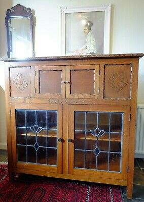 Large Arts & Crafts Style Cabinet with Lift Up Lid + Leaded Glass Doors