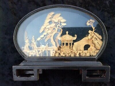 Vintage Chinese Carved Cork  Diorama With Cranes In Glass Display