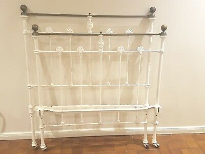 Antique Rare Bed Ends Original Cast Iron and Brass