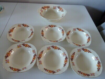 Vintage Alfred Meakin Royal Marigold Autumn Colours 1 Fruit Bowl & 6 Small Bowls