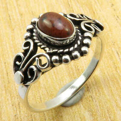 ANTIQUE STYLE Ring Size 8 | Mahogany Obsidian Silver Plated Fashion Jewellery