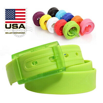 Adjustable Cut to Fit Rubber Plastic Jelly Silicone Casual Belt With Buckle