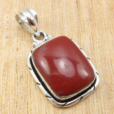 "925 Silver Plated High End Red Jasper OXIDIZED Pendant 1.4"" ! Discount Jewelry"