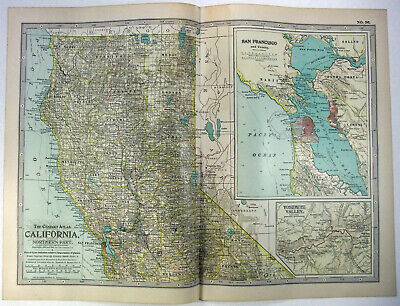 Original 1902 Map of Northern California by The Century Company. Antique