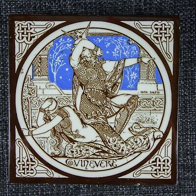 Moyr Smith - Mintons Victorian Tile - Guinevere - Idylls Of The King - C1876