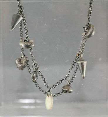 Fantastic Early 1700s Chinese Silver Child's Necklace w/ Silver & Jade Charms