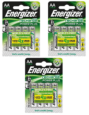 12 x Energizer AA Power Plus 2000 mAh piles rechargeables accu HR6