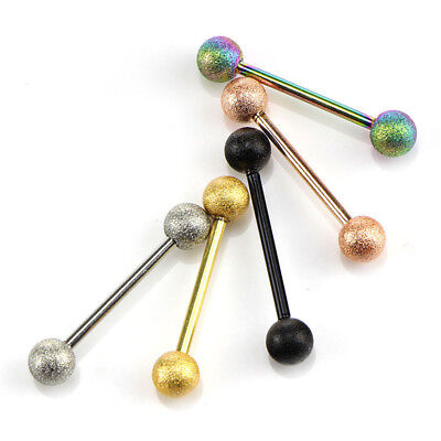 5Pcs 14G Surgical Steel Mixed Barbell Bar Tounge Rings Piercing Body Jewelry VG