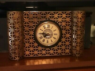 MCM Metal Mesh Clock Bilt Rite Desk Mantle Dresser Gold Kitchy