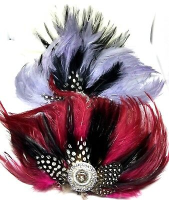 Black  White Red Feather Fascinator Hair Clip Party Vintage Headwear