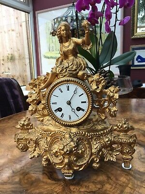 FRENCH GILT MANTLE CLOCK CHIMING Antique