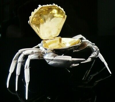 Novelty Silver CRAB Table Top Snuff Box, Spanish 20th Century