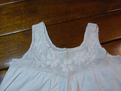 Antique Cotton Nightgown Shift With Lace Top Yoke Hand Crochet Filet Floral Yoke