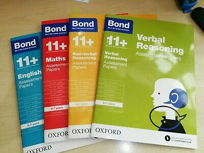 Bond 11+ Plus 6-7 Year Assessment Papers 4 Books English Maths Verbal Non Verbal