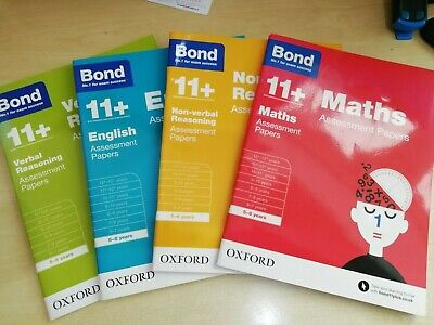 Bond 11+ Plus 5-6 Year Assessment Papers 4 Books English Maths Verbal Non Verbal