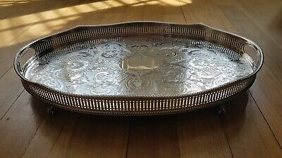 Large Oval Silver Plated Serpetine Drinks Tray