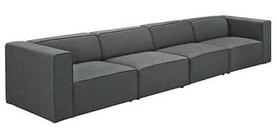 4-Pc Living Room Upholstered Sectional Sofa Set in Gray [ID 3794015]