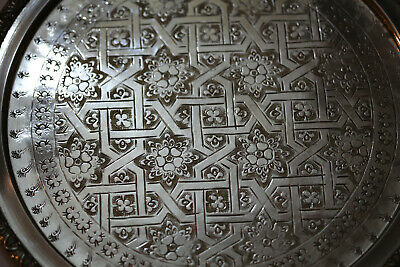 Antique French Serving Tray Silver Plated Engraved Signed 13.4inch /34cm