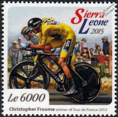 CHRIS FROOME 2013 Tour de France Winner Bicycle/Cycling Stamp/2015 Sierra Leone