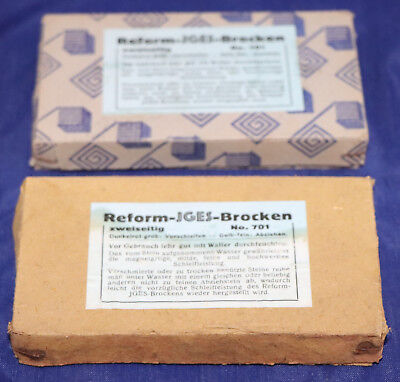 2 alte IGES Schleifsteine, Reform-IGES-Brocken No. 701 in Originalverpackung