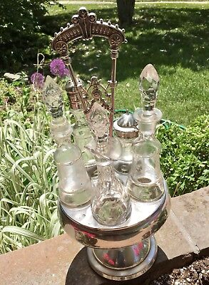 Vintage Silverplate 5 Etched Glass Cruet Set Spin Caddy 1961-4 0 76 On Bottom