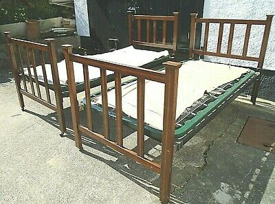 Pair 3' Antique Edwardian Inlaid Mahogany Single Bed Stead Frames Sprung Bases
