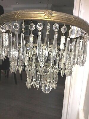 large antique small spear point icicle waterfall chandelier non electric