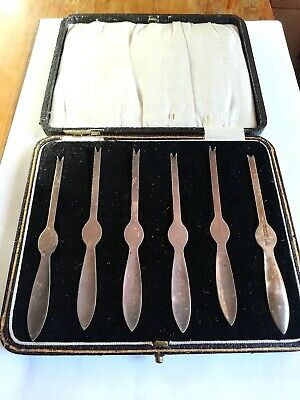 Delightful Antique Solid Silver Lobster Picks- Hallmarked Complete with Box