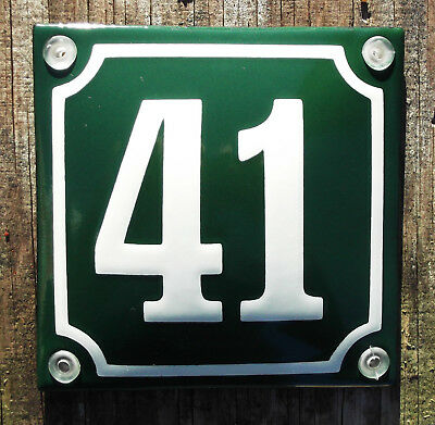 CLASSIC ENAMEL HOUSE NUMBER 41 SIGN. CREAM No.41 ON A GREEN BACKGROUND. 10x10cm.