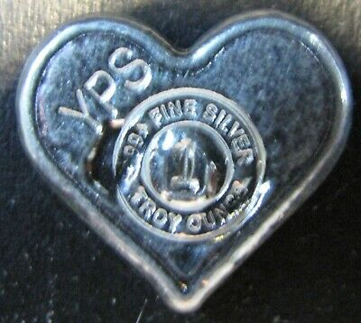 """1oz Hand Poured 999 Silver Bullion Bar """"Heart"""" by YPS - Yeager's Poured Silver"""