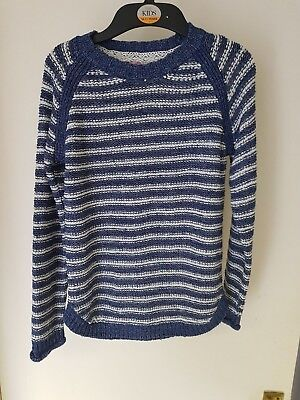 Girls Primark Blue Stripped Jumper Top 9-10 Years