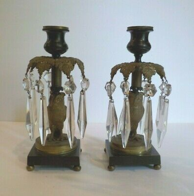 Pair French Bronze Owl Candle Holders / Girandoles, Cut Prisms, c. 1880