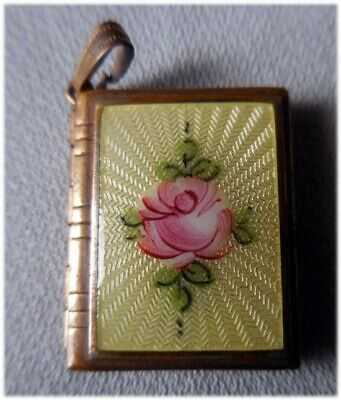 Antique Reverse Hand Painted Rose 2 Picture Locket