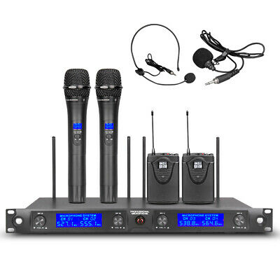 Wireless Microphone System 4 Channel 2 Handheld 2 Headset Lavalier Pro UHF Audio