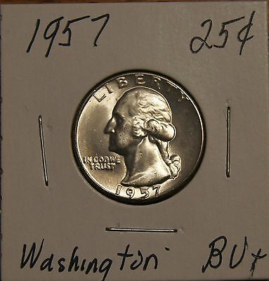 1957 Silver Washington Qtr -Brilliantly Uncirculated Plus With Minor Toning