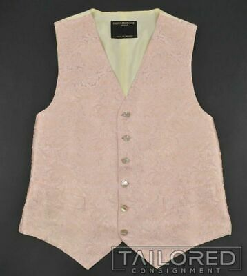 FAVOURBROOK Pink Embroidered Paisley 100% Silk Mens Suit Tuxedo Vest - 40