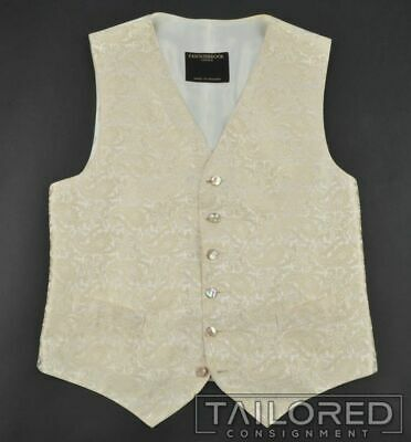 FAVOURBROOK Ivory Embroidered Paisley 100% Silk Mens Suit Tuxedo Vest - 40