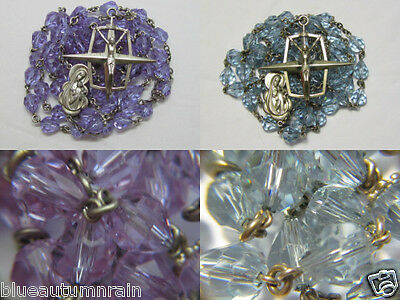 † Vintage Sterling Purple Lavender Changing To Blue Alexandrine Glass Rosary †