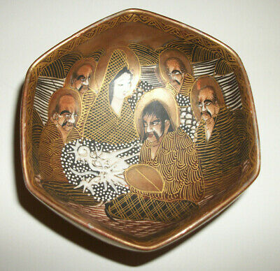 Vintage Japanese Satsuma Immortals Signed Multi-sided Bowl Exc. Cond.