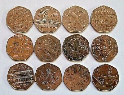 RARE 50p coins, for Royal Mint COIN HUNT Albums & Collections etc. VGC FREE P&P