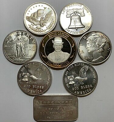 Lot of 8 Troy Oz Pure .999 Silver Rounds & Bars Vintage Engelhard Butch Cassidy