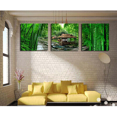 3 Panels Unframed Art Canvas Oil Painting Picture Bamboo Forest Print 30cm