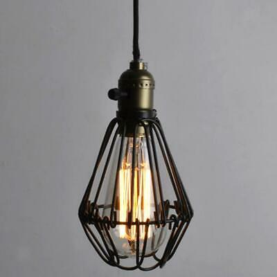 Antique Brass E27 Pendant Light Iron Cage Hanging Lamp Shade Bulb No Wire