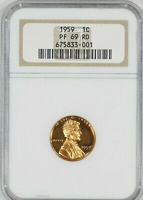 1959 Lincoln Memorial Cent Penny 1C Ngc Certified Pf 69 Rd Proof Red (001)