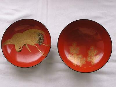 Antique Japanese lacquer chawan with crane and pine 1850-70 handpainted #4057