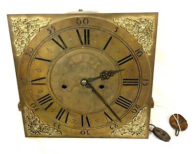 Antique 8 Day Grandfather Longcase Clock Dial & Movement THOS KEFFORD ROYSTON