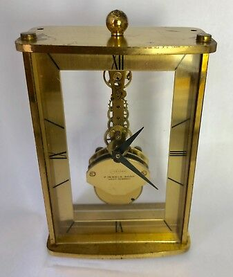 Vintage UWESTRA 7 JEWELS 8 Day Miniature Skeleton Clock MADE IN W. GERMANY