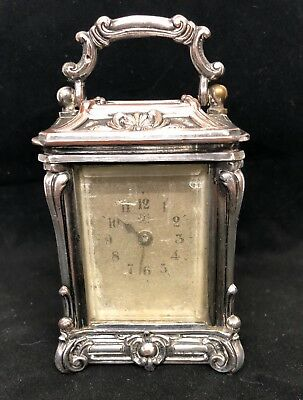 Antique  Miniature Silver Plated Carriage Clock JUNGHANS