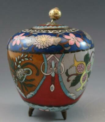 Antique Chinese Cloisonne & Enamel Footed Jar w/ Flowers & Goldstone