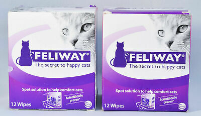Feliway Wipes 2 Boxes of 12 Individual Packets Artificial pheromone Calms Cats